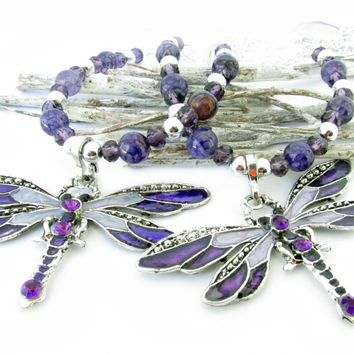 Purple Dragonfly Curtain Tiebacks