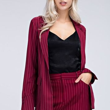 Striped Blazer Jacket With Flared Cuff Detail