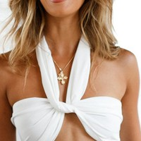 Back For More Sleeveless Twist Halter Backless Crop Tank Top - 2 Colors Available