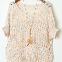 Cutout Batwing Sleeve Loose Fit Sweater - OASAP.com