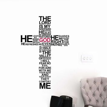 Factory Price cartoon TYPOGRAPHY CHRISTIAN God CROSS WALL ART STICKER DECAL Jesus Christ Psalm Pray Bible Bedroom Mural