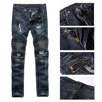 2017 Hi-Street Mens Ripped Rider Biker Jeans Motorcycle Slim Fit Washed Blue Moto Denim Pants for Skinny Men Hight Quality Pants