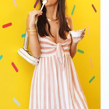 Capri Day Dress - Coral Stripe