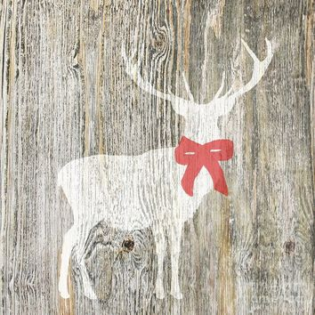 White Christmas Stag Deer With A Red Ribbon by Suzanne Powers