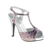 Shop prom shoes | Silver Prom Shoes | Prom dresses | Plus size prom dresses | Zoey by Touch Ups TU458 Pink Multi Platform Sandal | GownGarden.com