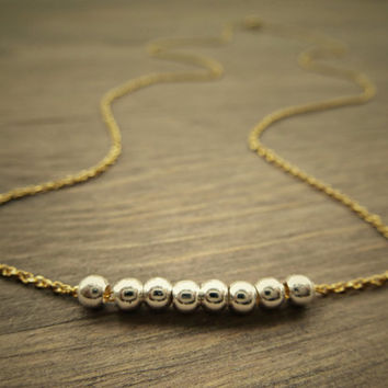 Sterling silver and Gold necklace, petite, dainty necklace, simple minimalist gold and silver necklace.