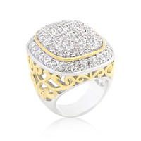 CZ Cushion Pave Filigree Cocktail Ring