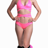 Pink Wet Look Wrap Halter Top Outfit