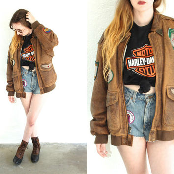 Vintage 70s FLIGHT PATCHED Brown Patina Leather Jacket // Military Biker Boho Hipster // Small / Medium / Large