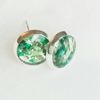 SALE ITEM Glitter & Resin Stud Earrings Green Earrings Pink Earrings