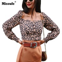 Missufe Leopard Square Neck Elastic Crop Top Women Autumn Long Sleeve Sexy Split Basic T Shirt Daily Tops 2018 Harajuku