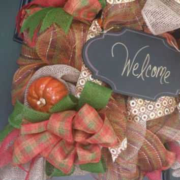 Fall Welcome Wreath Front Door Fall Wreath Autumn Front Door Wreath Fall Pumpkin Mesh Wreath Pumpkin Burlap Door Wreath Chalkboard Welcome