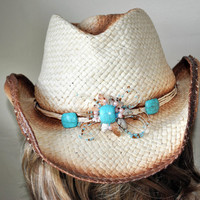 Western Style Women's Hat-Soft Paper Straw Hat-Women's Cowboy Inspired Hat-Hand Embilleshed Hat