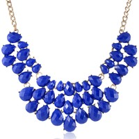 Blue Graduated Teardrop Bib Statement Necklace, 18""