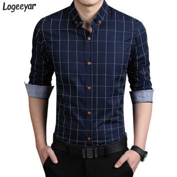 New Fashion Mens Plaid Shirt Cotton High Quality Dress Shirts Men Casual Slim Fit Long Sleeve Shirt Social Men Clothes