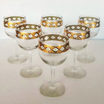 Mid Century Culver Valencia Wine Glasses  Set of 6 22kt Gold Decorated with Green Diamonds