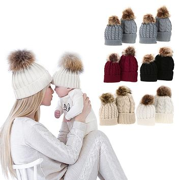 1PC Hats For Baby or Mom Winter Warm Raccoon Fur Hats Daughter Mommy Beanie Caps Children Women Cotton Knitted Hats