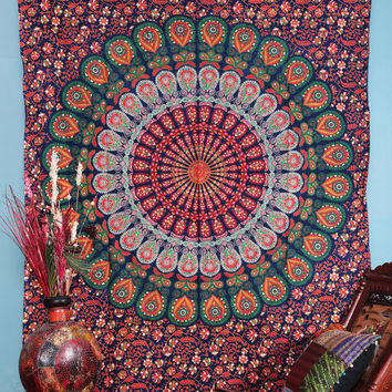 Twin Mandala, Bohemian Tapestries, Mandala tapestries, Wall Hanging, Beach Sheet, Mandala Wall art, Etchnic Decor, Indian Tapestries
