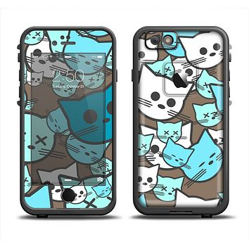 The Blue and Pink Vector Faced Cats Apple iPhone 6 LifeProof Fre Case Skin Set