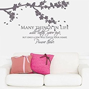 Wall Decal Vinyl Sticker Decals Art Decor Design Branch Birds Flower Sakura Tree Sign Many Thingg Inspire Words Quote Modern Bedroom (r449)