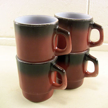 Fire King Stacking Mugs Cups Anchor Hocking Glassware