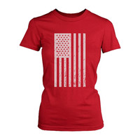 Distressed American Flag Independence Day Women's Red Shirt for 4th of July