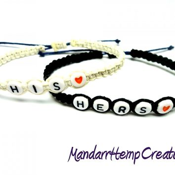 Bracelets for Couples, His and Hers Black and White Adjustable Hemp Bracelet Set - $20.00 - Handmade Jewelry, Crafts and Unique Gifts by MandarrHempCreations