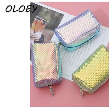 Women Laser Cosmetic Bag Mermaid Holographic Make Up Box Scale Student Pencil Case Toiletry Wash Box PU Clutch!