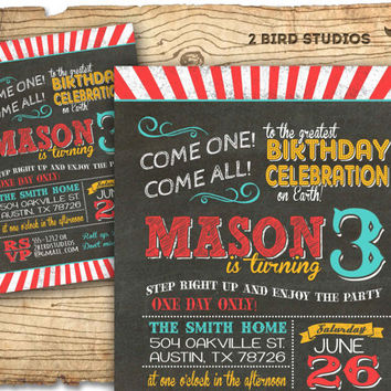 Circus invitation- Carnival party invitation - chalkboard circus birthday invitation - DIY printable invitation
