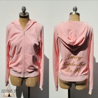 Juicy Couture Pink Hoodie Glitter Typography NEW