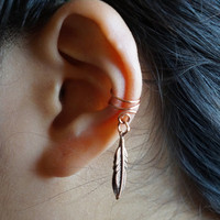 Double Little Bird Feather Ear Cuff