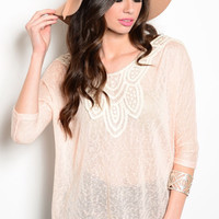 Peach and Ivory Crochet Slouch Top