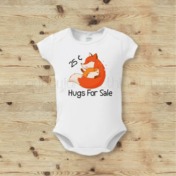 25¢ Hugs Fox Baby Outfit - Boho Fox Baby Outfit - Cute Fox Baby Top