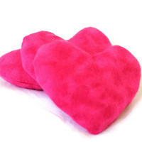 Hot Pink Heart Shaped Bean Bags Bright Cerise Girl's Toy Party Favor (set of 3) - US Shipping Included