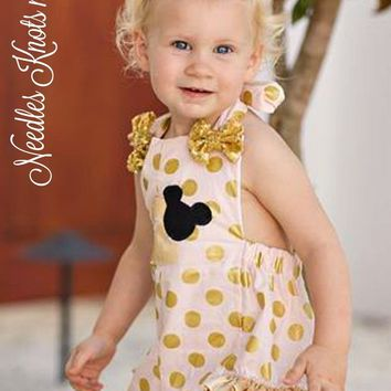 Girls PInk & Gold Minnie Mouse Romper, Baby Girls Minnie Mouse Birthday Romper, Birthday Outfit