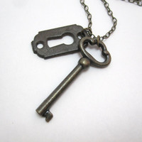 Vintage key necklace long antique necklace by LazyOwlBoutique