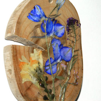 Botanical ornament wood decor Floral ornament Dried flower decor Rustic Wooden decor Wall hanging nature Home decor decoration dry flowers
