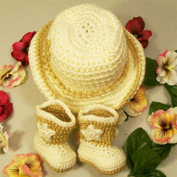 Crochet Baby Girl Gift Set-Cream and Gold Cowboy Hat and Boots---Baby Shower Gift