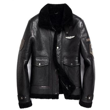 Black Men Pilot Leather Shearling Coat