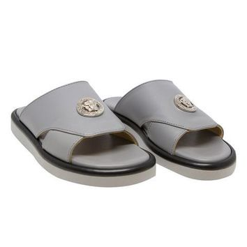 Versace Boys Grey Leather Slide Sandals