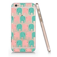 Cute Elephants Pattern Transparent Plastic Phone Case for Iphone 6 ^_^ Yurishop