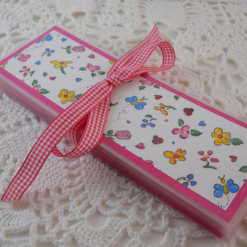 Valentine Bookmark Class Party Favors Pink Flower Valentines Gift Goody Bag Girls Birthday - Set of 25
