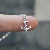Anchor Necklace - Sterling Silver . Tiny Anchor Charm . Pendant . Womens Jewelry