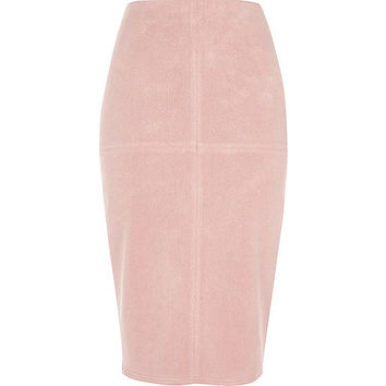 Light pink faux suede pencil skirt
