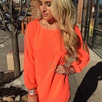 Neon Coral Long Sleeve Dress : Mesh