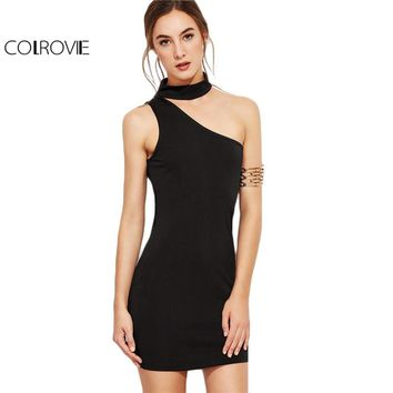 COLROVIE One Shoulder Choker Bodycon Dress 2017 Black Sexy Women Summer Party Dresses Slim Elegant Sleeveless Mini Club Dress