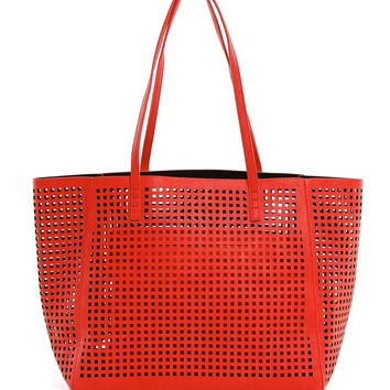Perforated Double Bag Tote in Red
