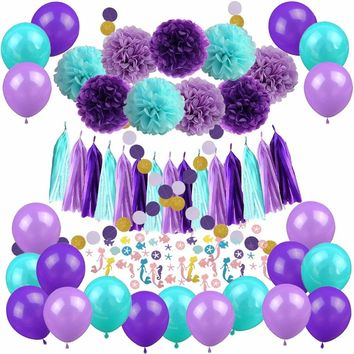 Mermaid Party Decorations Pom Poms Paper Tassel Garland Banner Mermaid Confetti Balloons for Birthday Baby Shower Party Favors