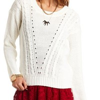 V-STITCH CABLE PULLOVER SWEATER
