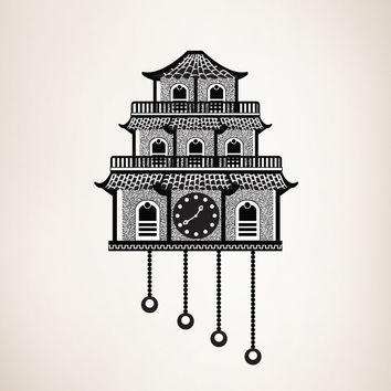 Vinyl Wall Decal Sticker Japanese Cuckoo Clock #OS_DC192